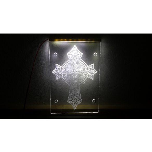 Díszes kereszt világító tábla